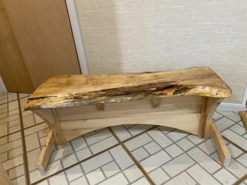Maple slab bench