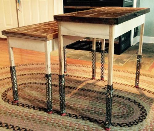 Twin adjustable height coffee tables