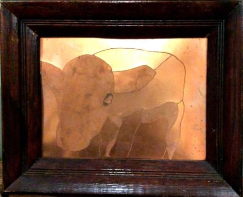 Cow moo etched copper