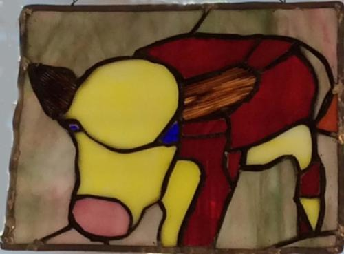 Cow moo stained glass